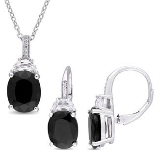 Miadora Sterling Silver Black Sapphire Created White Sapphire and Diamond Accent 2-Piece Necklace and Earrings Set