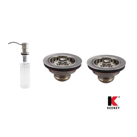 Keeney KITK5445SSDS Basics Double Strainer Kitchen Kit, Stainless Steel