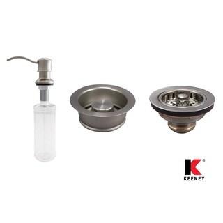 Keeney KITK5445SSGD Stainless Steel Basics Kitchen Kit with Soap Dispenser, Strainer, and Stopper - Silver