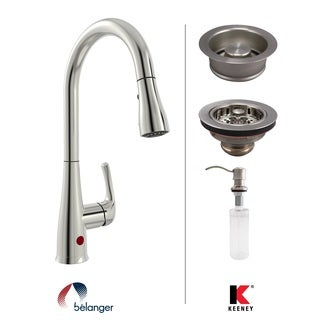 Keeney KITNEX76BNGD Premium Brushed Nickel Kitchen Kit with Motion Activated Faucet, Soap Dispense, Strainer, and Stopper