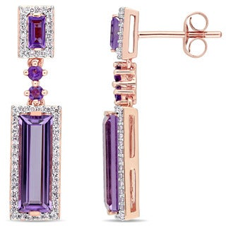 Miadora Signature Collection 14k Rose Gold Baguette-Cut African-Amethyst and 1/3ct TDW Diamond Two-Tier Dangle Earrings