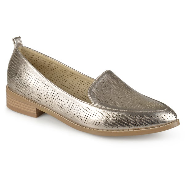 Journee Collection Women's 'brooky' Laser Cut Stacked Heel Pointed Toe Loafers by Journee Collection