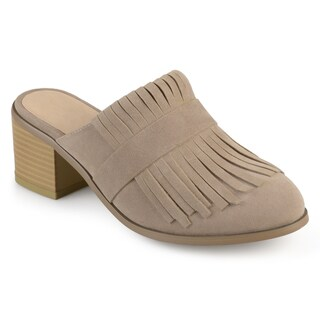 Journee Collection Women's 'Evelyn' Fringe Stacked Heel Mules
