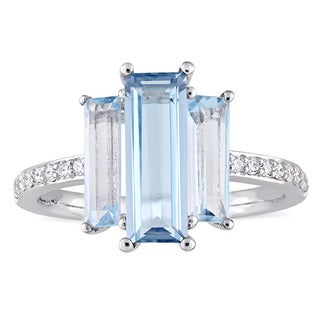 Miadora Signature Collection 14k White Gold Baguette-Cut London and Sky-Blue Topaz 1/7ct TDW Diamond - Blue