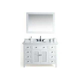 Legion Furniture White Wood 48-inch Sink Vanity with 36-inch Mirror and Faucet