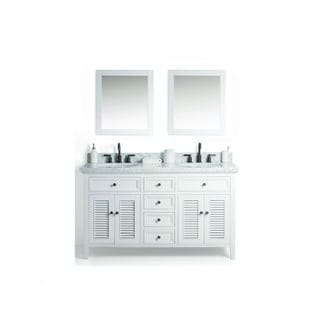 Legion Furniture White Wood 60-inch Sink Vanity with 2 24-inch Mirrors and Faucet