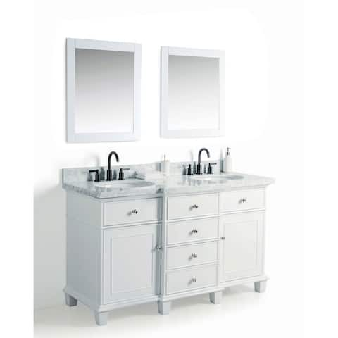 Legion Furniture White Wood 60-inch Double Sink Vanity with 24-inch Mirrors