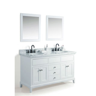 Legion Furniture White Wood 60-inch Double Sink Vanity with 24-inch Double Mirrors and Faucet