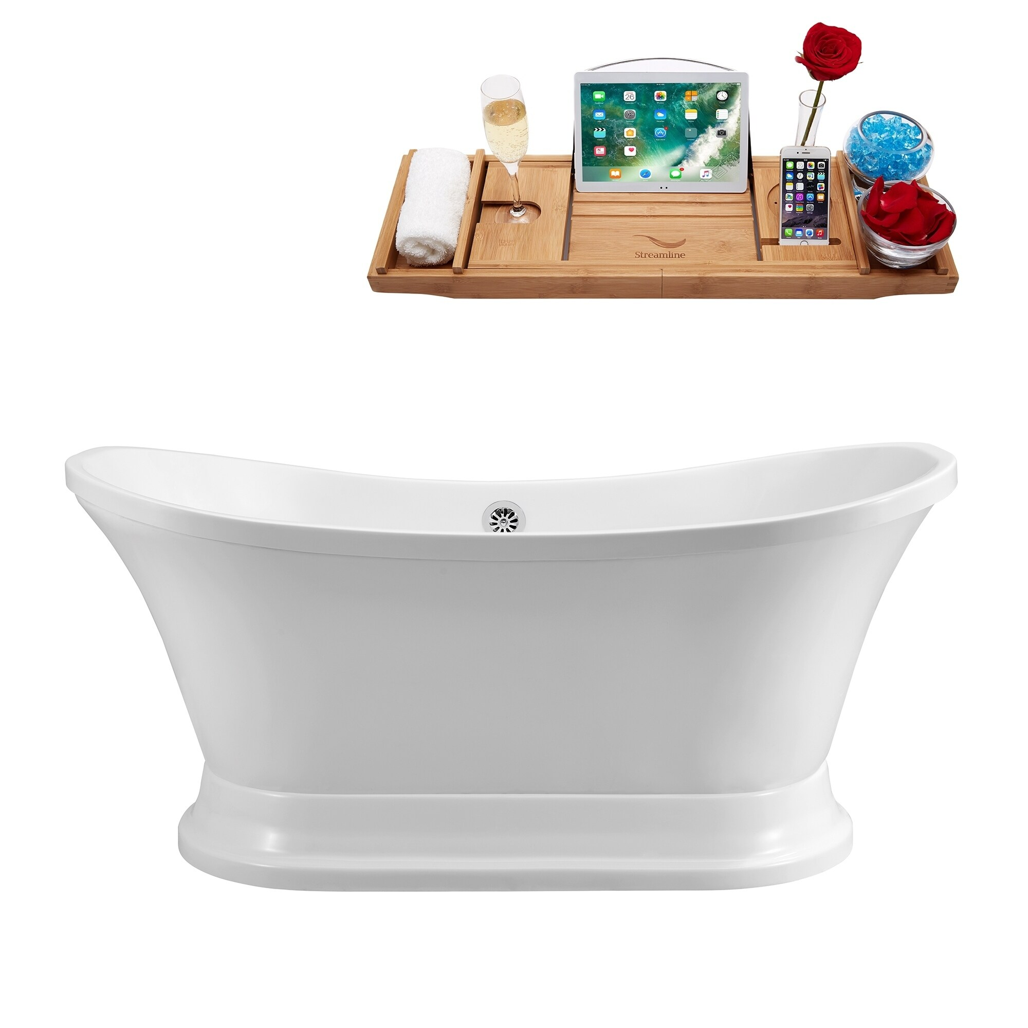 Streamline White 60-inch Free-standing Soaking Tub With External ...
