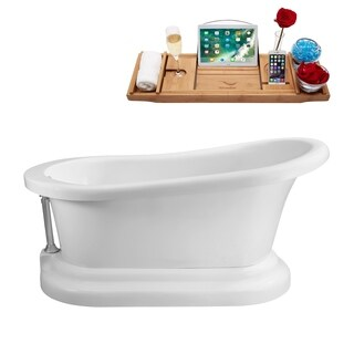 Streamline White 60-inch Soaking Freestanding Tub with External Drain
