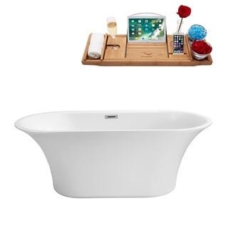 "59"" Streamline N-840-59FSWH-FM Soaking Freestanding Tub and Tray With Internal Drain"
