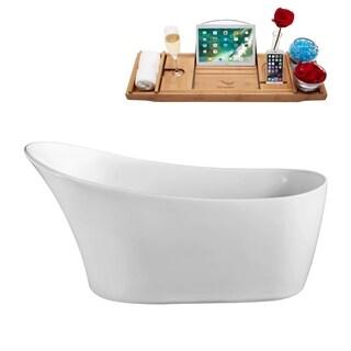 59-inch Soaking Freestanding Tub with Internal Drain