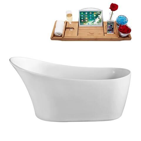 "63"" Streamline N-821-63FSWH-FM Soaking Freestanding Tub and Tray With Internal Drain"