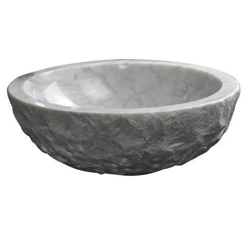AA Warehousing Ellie Carrera Stone White Marble Oval Sink
