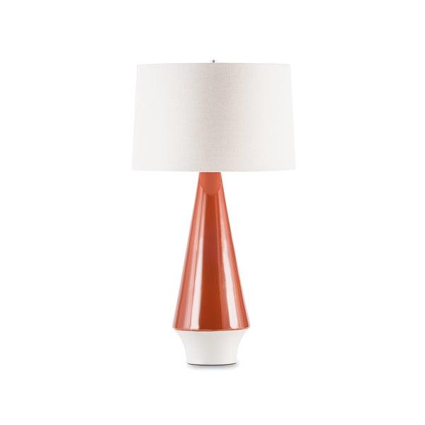 Mid Century Orange/ White Ceramic Table Lamp