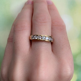 Miadora Signature Collection 14k Yellow Gold 1ct TDW Diamond Channel-Set Nine-Stone Semi-Eternity Ring