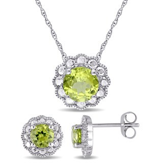 Miadora Signature Collection 10k White Gold Peridot Flower Halo 2-Piece Necklace and Stud Earrings Set