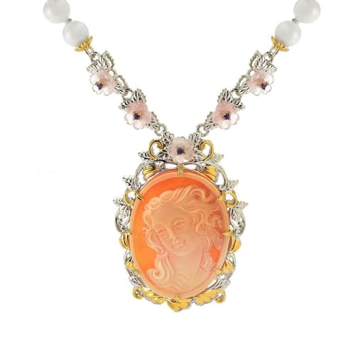 Michael Valitutti Palladium Silver Carved Shell Cameo, Multi Gem & Coral Bead Venus Necklace