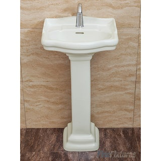 Fine Fixtures, Roosevelt Biscuit Pedestal Sink - Vitreous China Ceramic Material (Single Hole)