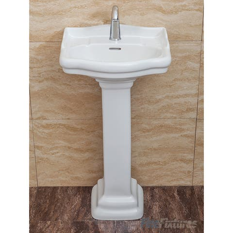 Fine Fixtures, Roosevelt White Pedestal Sink - Vitreous China Ceramic Material (Single Hole)
