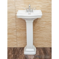 Fine Fixtures Roosevelt White Pedestal Sink Vitreous China Ceramic Material 4 Inch Faucet