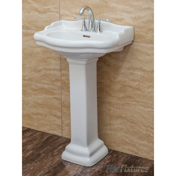 Fine Fixtures, Roosevelt White Pedestal Sink   Vitreous China Ceramic  Material (4 Inch Faucet Spread Hole)   Free Shipping Today   Overstock.com    22295079
