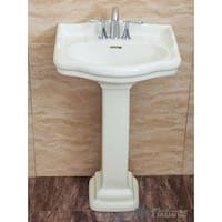 Fine Fixtures, Roosevelt Biscuit Pedestal Sink - Vitreous China Ceramic Material (4 Inch Faucet Spread Hole)