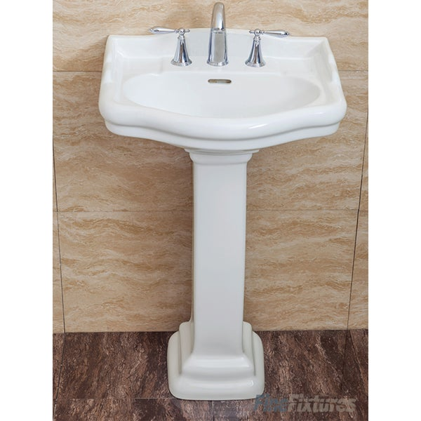 Fine Fixtures Roosevelt White Pedestal Sink Vitreous China Ceramic Material 8 Inch Faucet