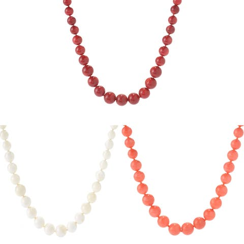 Michael Valitutti Palladium Silver Coral Graduated Bead Toggle Necklace
