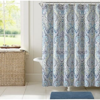blue and gray shower curtain. VCNY Home Angeline Shower Curtain 14 piece Bath Set Garden Paisley Blue Grey  Free Shipping On Orders
