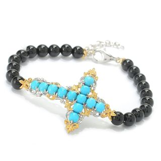 Michael Valitutti Palladium Silver Sleeping Beauty Turquoise & Black Onyx Sideways Cross Bracelet