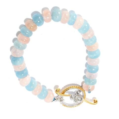 Michael Valitutti Palladium Silver Aquamarine & Morganite Alternating Bead Toggle Bracelet