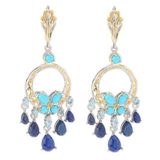 Michael Valitutti Palladium Silver Sleeping Beauty Turquoise & Multi Gemstone Dangle Earrings