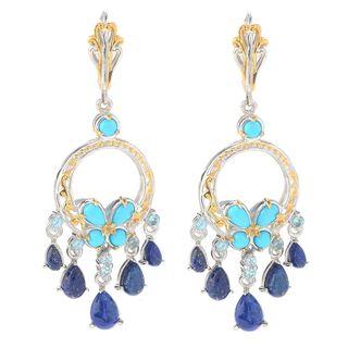 Michael Valitutti Palladium Silver Sleeping Beauty Turquoise & Multi Gemstone Dangle Earrings