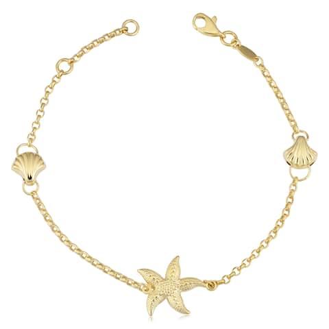 Fremada 14k Yellow Gold Seashell and Starfish Station Bracelet (adjustable to 7 or 7.5)
