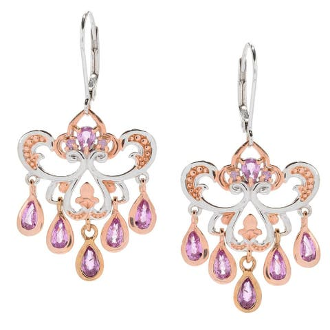 Gems en Vogue Palladium Silver Pink Sapphire Chandelier Earrings