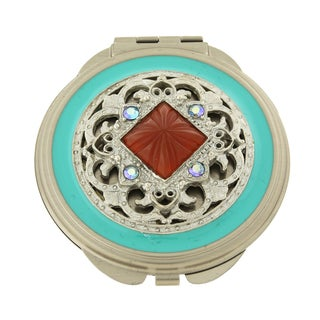 1928 Jewelry Vintage-Inspired Silver-Tone Purple AB Crystals Turquoise Blue Enamel Carnelian Color Mirror Compact