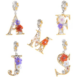 Michael Valitutti Palladium Silver Multi Gemstone Carved Flower Scrollwork Initial Drop Charm