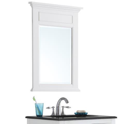 WYNDENHALL Jersey 24 inch x 34 inch Bath Vanity Décor Mirror in White (As Is Item)