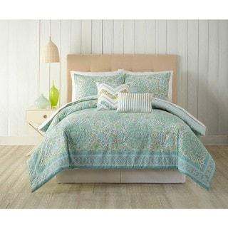 Indigo Bazaar Stamped Indian Floral 5-piece Comforter Set
