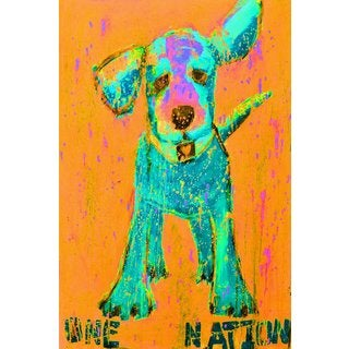 Pink and Orange One Nation' Painting Print on Wrapped Canvas