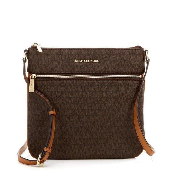 2a97bbdf7636 Shop Michael Kors Bedford Signature Flat Brown Crossbody Bag - Free  Shipping Today - Overstock - 15889348