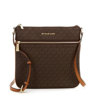 Michael Kors Bedford Signature Flat Brown Crossbody Bag