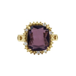 Luxiro Gold Finish Sterling Silver Purple Sliced Glass and Cubic Zirconia Ring