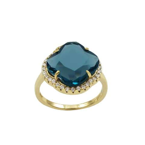 Luxiro Gold Finish Sterling Silver Blue Sliced Glass and Cubic Zirconia Clover Ring