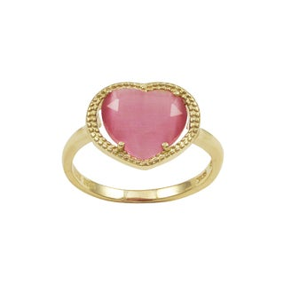 Luxiro Gold Finish Sterling Silver Pink Sliced Glass and Heart Ring