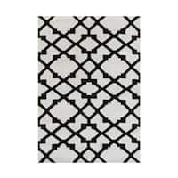 Alliyah Indo Black/White Wool Hand-woven Striped Contemporary Area Rug (5' x 8')