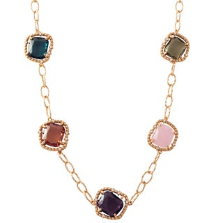 Luxiro Rose Gold Finish Sterling Silver Sliced Glass and Cubic Zirconia Necklace