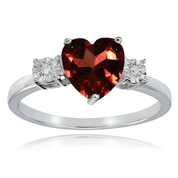 Glitzy Rocks Sterling Silver African Garnet and Diamond Accent Heart Ring. Opens flyout.