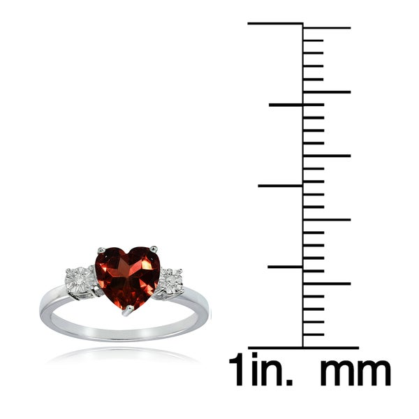 Glitzy Rocks Sterling Silver African Garnet and Diamond Accent Heart Ring